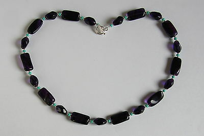 Stunning NECKLACE Purple and Turquoise GLASS STERLING SILVER 925 HANDMADE