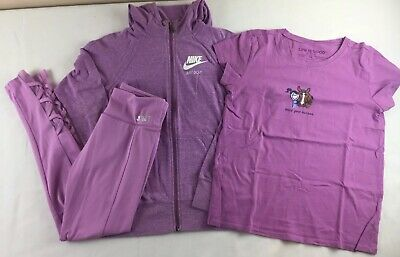 Girls Lot Of 3 Size Large / XL NIKE jacket Justice Pants Life's Good Shirt #a621