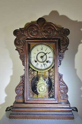 Antique 8 day Cunard Line New Haven chiming Mantel clock with Display Pendulum