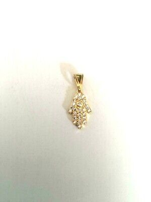 14 K Gold Plated Hamsa Pendant With  Micro Pave Cz J 409