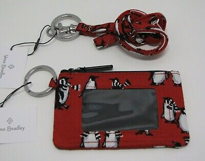 Vera Bradley Zip ID Case Badge Holder And Lanyard In Playful Penguins Red NWT