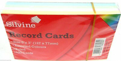 "Silvine Coloured Record Cards 5"" x 3"" Ruled Flash Cards Revision Flash Cards 100"
