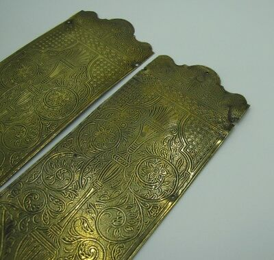 Old Decorative Reclaimed Pair of Pressed Brass Door Finger Push Plates