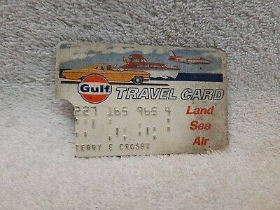 Vintage Gulf Oil Logo Travel Credit Card Gas Station & Car Graphic