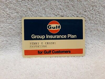Vintage Gulf Oil Logo Insurance Card Group Insurance Plan for Gulf Customers