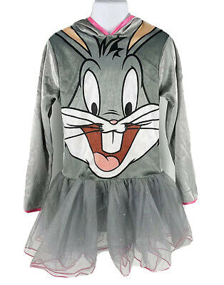 Looney Tunes Bugs Bunny Girls Halloween Costume Sz Small 4-6 Gray Tutu Dress