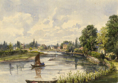 River Thames, Upper Halliford – Original mid-19th-century watercolour painting
