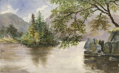 E.E. Cowan, Loch Lomond View – Original 1877 watercolour painting