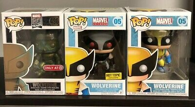 Lot Of 3 Funko Pop! Marvel #05 Wolverine (Hot Topic Exclusive), #05, #496