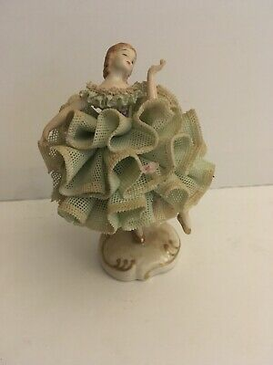 Vtg Irish Dresden Lace Porcelain Lady Ballerina Dancers Cilly Figurine