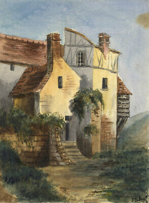 Dashwood, Continental Timber-framed House – Original 1877 watercolour painting