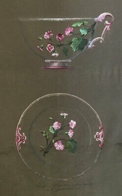 Louis Denizot, French Floral Cup & Saucer Design with Primrose –1883 watercolour