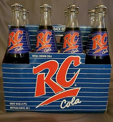 FULL 16 oz Royal Crown Cola Bottles RC Cola 8-Pack with Carrier