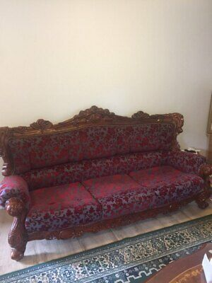 Antique 3 piece hand carved wooden lounge set