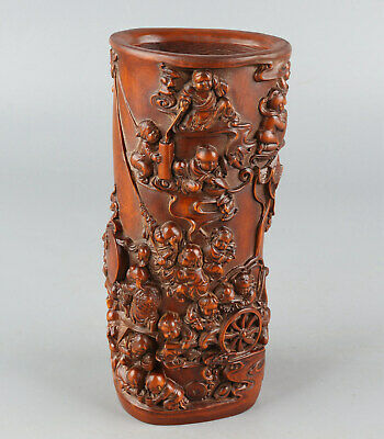 Chinese Exquisite Hand-carved children Carving Boxwood Brush Pot