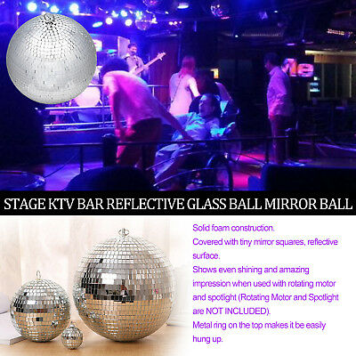 20/25/30CM Mirror Glass Disco Ball DJ Dance Home Party Bands Club Stage vg