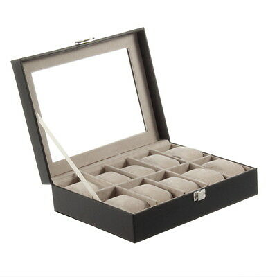 10 Grid Slots Wrist Watches Gift Case Jewelry Display Boxes Storage Holder tJ