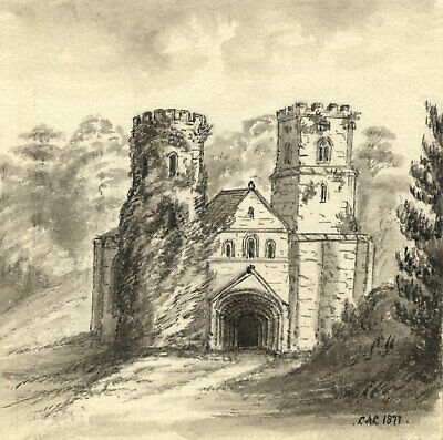 C.A. Collis, St Germans Priory Church, Cornwall – 1877 watercolour painting