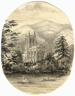 C.A. Collis, Great Malvern Priory Church – Original c.1877 watercolour painting
