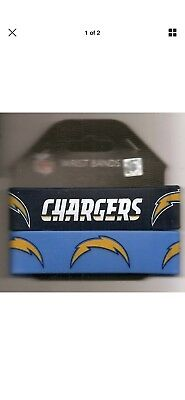 Los Angeles Chargers 2 Pack PVC Silicone Rubber Wrist Bands New NFL