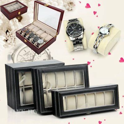 6 10 20 Grids Watch Jewelry Storatge Holder Box Wrist Watches Display Case kO