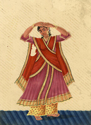 Company School 19th-century Indian Mica Painting Gouache Dancing Girl in Sari I