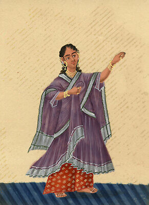 Company School 19th-century Indian Mica Painting Gouache Dancing Girl in Sari IV