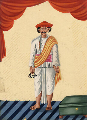 Company School 19th-century Indian Mica Painting in Gouache – Servant with Keys