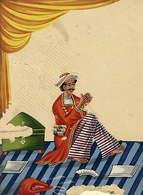 Company School 19th-century Indian Mica Painting in Gouache – Darzi Tailor