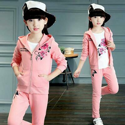 New Girls Clothes Sport Suit Kids Clothing Jacket Pants Tracksuit Size 5-15Y