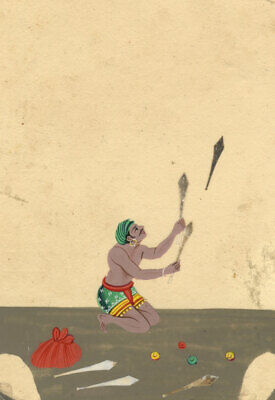 Company School 19th-century Indian Mica Painting in Gouache – Juggler Performer