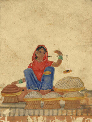 Company School 19th-century Indian Mica Painting in Gouache – Confectioner