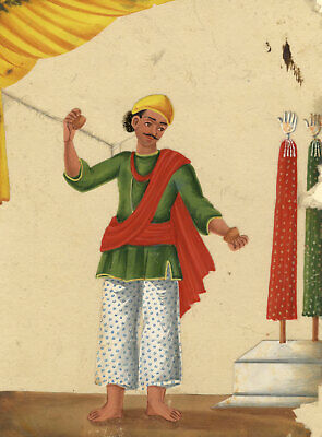 Company School 19th-century Indian Mica Painting in Gouache – Muharram Figure