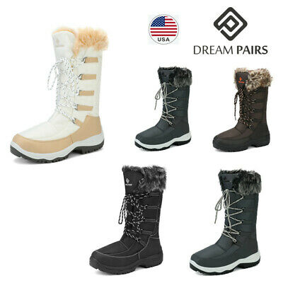 DREAM PAIRS Women's Waterproof Warm Faux Fur Mid Calf Snow Boots Outdoor Hiking