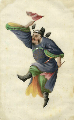Antique 19th-century Chinese Pith Painting, Male Dancer with Flags