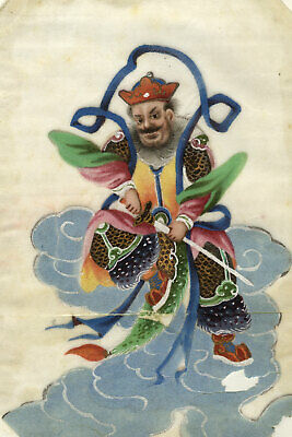 Antique 19th-century Chinese Pith Painting, Male Deity with Sword