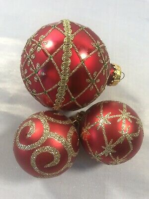 Set of 3 Christmas Ball Tree Ornaments Red Gold Bling Holiday Home Decoration