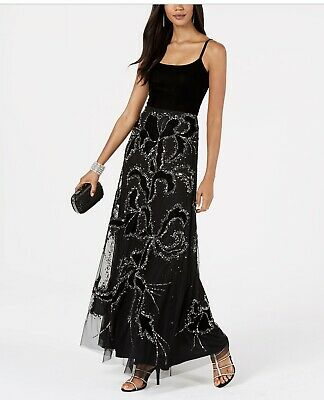 NWT Adrianna Papell Womens Black Sequined Velvet Dress Gown, Size 10 ChicEwe
