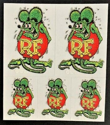 Mini Green Rat Fink STICKERS Decal Ed Big Daddy Roth RF17M Five Mini's In One