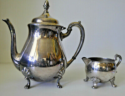 Vintage Viners Silver Plated Tea Or Coffee Pot With Matching Creamer Milk Jug