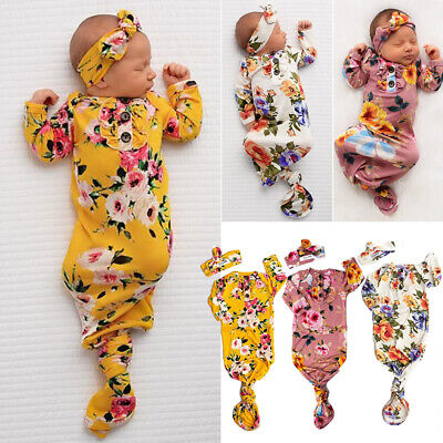 AU Flower Newborn Baby Girl Swaddle Wrap Blanket Sleeping Bag+Headband Set 0-6M