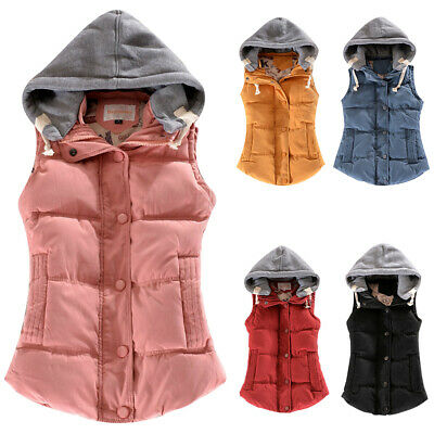 Womens Hooded Quilted Gilet Bodywarmer Lady Puffer Padded Sleeveless Jacket Coat