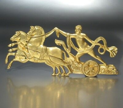 Antique French Gilded Bronze Furniture Decoration Empire Style Nude Woman Horses