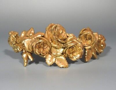 Antique French Gilded Bronze Furniture Decoration Garlands Roses Flowers Tiara