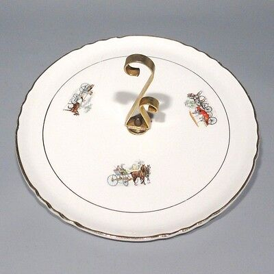Vintage French Cheese Porcelain Platter, Horse & Buggy,Orchies Moulin des Loups
