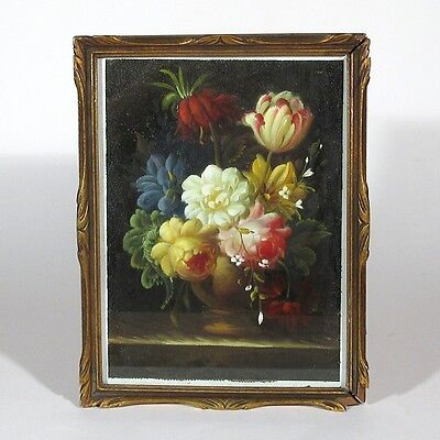 Antique French Hand Carved Gilded Wood Frame, Textured Print on Canvas, Flowers