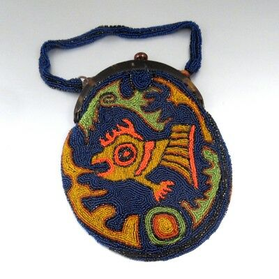 Vintage French Beaded Bag Purse, Bakelite, Fish,1920-1930's