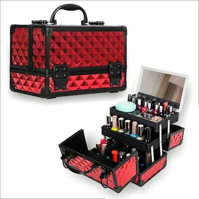 Makeup Organizer Aluminum Alloy Women Cosmetic Case Large Capacity Storage Box