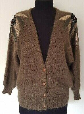 Vintage 1980's Olive Brown Wool Mohair Acrylic Applique Beaded Cardigan -size M
