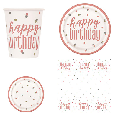 Rose Gold Glitz Confetti Dots Party Tableware - Cups, Plates & Tablecover